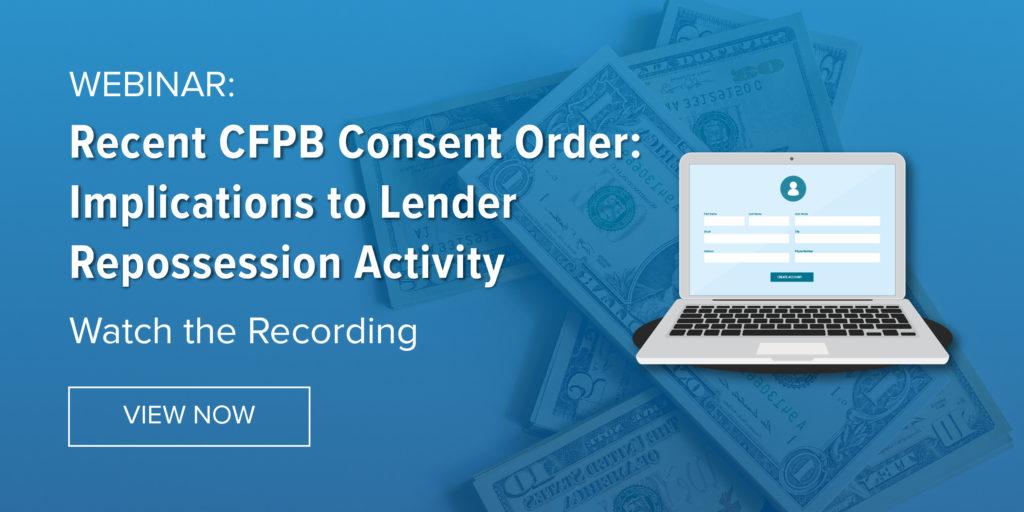 CFPB Consent Order Webinar